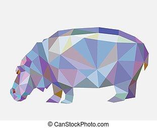hippopotame, triangle, polygone, bas