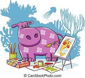 hippopotame, vecteur, caractère, illustration.