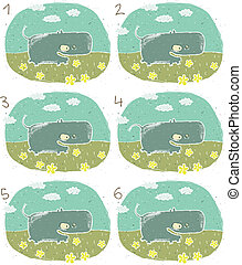 hippopotame, visuel, jeu, heureux