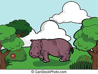 hippopotamus and Forest scenery
