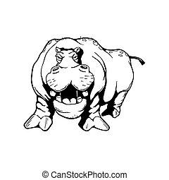 hippopotamus Animal cartoon character . Vector Illustration.