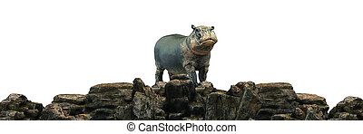 hippopotamus at sunset. 3d rendering