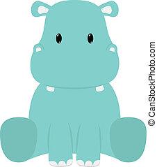 Hippopotamus - Baby hippopotamus seated