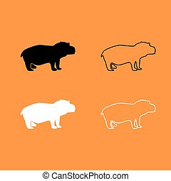 Hippopotamus black and white set icon .