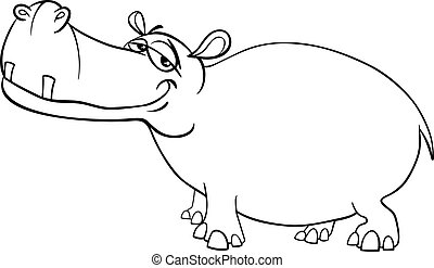 hippopotamus character coloring page - Black and White...