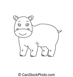 Hippopotamus for coloring book