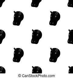Hippopotamus icon in black style isolated on white background. Realistic animals symbol stock vector illustration.