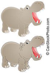 Hippopotamus - Isolated clip-art of a grey hippopotamus with...