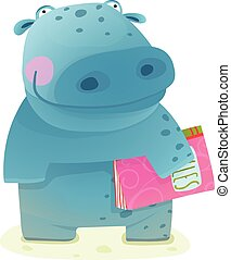 Hippopotamus Kid with Book Study Reading - Happy fun...