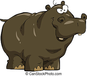 Hippopotamus on white background vector illustration