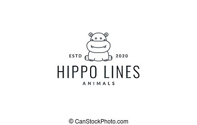 hippopotamus or baby hippo line  sit cute logo vector  illustration