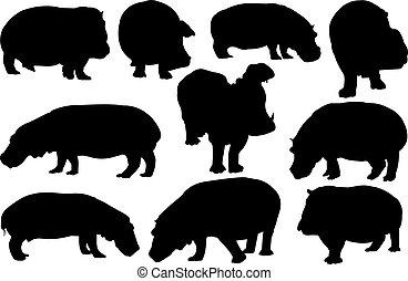 Hippopotamus Silhouette vector illustration