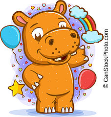 Hippopotamus standing around the balloons with the happy face