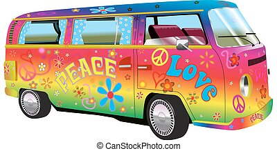 hippy, arc-en-ciel, fourgon