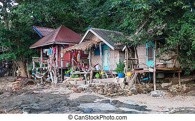 Hippy bungalows. Thailand, Kho Phayam Island 10.12.2014