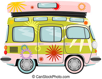 Hippy bus - 	Funny cartoon retro van or small bus. Vector