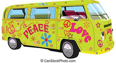 hippy, furgoneta
