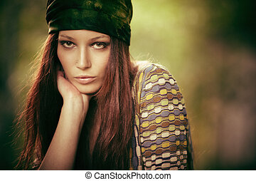 hippy girl - woman in hippy style clothes outdoor portrait,...
