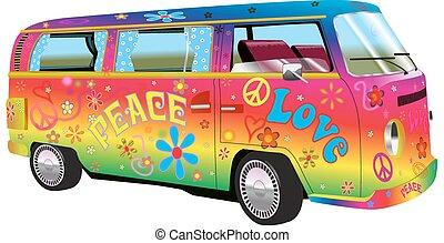 hippy, regenboog, bestelbus