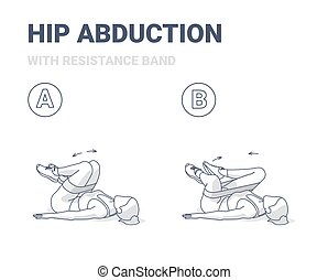 Hips Abduction with Resistance Band Exercise Female Silhouette Illustration. Concept of Girl Working at Home on Her Butt a Young Woman in Sportswear Doing Hip Abductions on a Floor.