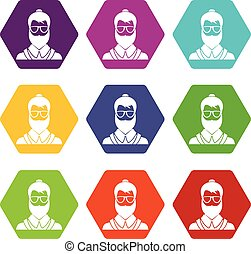 Hipsster man icon set color hexahedron