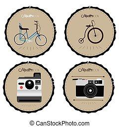 hipster, étiquettes, ensemble