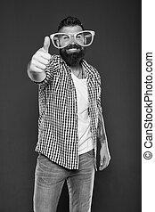 hipster, óculos, barbudo, sujeito, moda, meu, extravagante, homem, glasses., desgastar, desfrutando, entretendo, partido, accessory., brincalhão, engraçado, partido., só, divertimento, beard., himself., mente