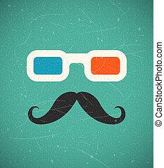 hipster, 3d, bioscoop