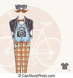 hipster, achtergrond, in, retro stijl