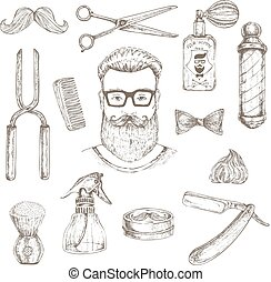 Hipster And Barber Elements Set - Barber elements hand drawn...