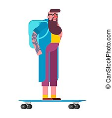 Hipster and longboard. Fashionable look. Bearded fashion-...