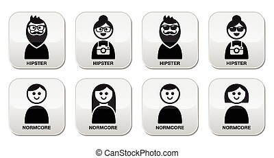 Vector buttons set of different cultures - hipster an normcore isolated on white