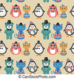 Hipster Animals & pets Seamless Background
