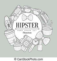 hipster, artículos, vendimia, bosquejo
