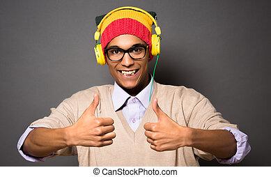 hipster, asiatique, écouteurs, homme