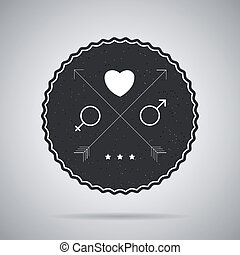 Hipster badge. Vector postcard