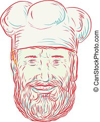 Drawing sketch style illustration of a hipster baker, cook, chef, food worker wearing a beard viewed from front on isolated white background.