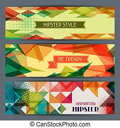 hipster, bandeiras horizontais, em, retro, style.