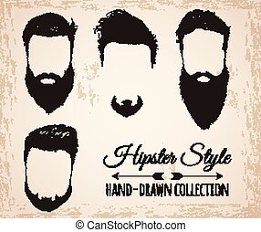 hipster, barbes, cheveux, mustaches.
