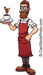 Cartoon hipster barista. Vector clip art illustration with simple gradients. Barista, cup of coffee and steam on separate layers.