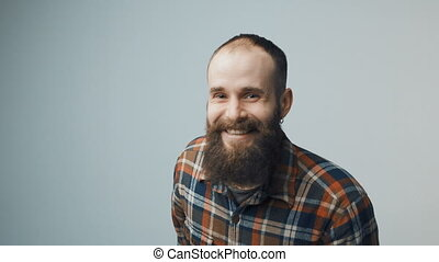 Hipster bearded celebrating success - Hipster bearded man...