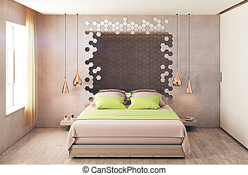 Hipster Bedroom Interior Modern Hispter With Double Bed And