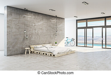 Hipster bedroom interior with wooden bed