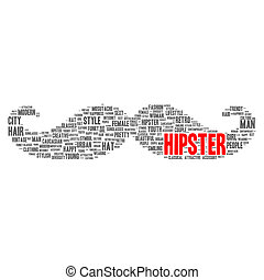 hipster, begrepp, ord, moln