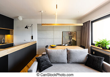Hipster black and gray open space living and dining room interior with a stylish sofa and a concrete wall