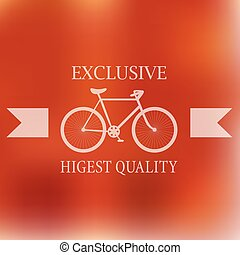 Hipster blur retro vintage label background with bicycle