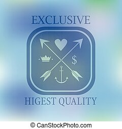 Hipster blur retro vintage label background with hearth arrow crown anchor