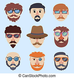 Hipster boy faces with beards and mustaches in sunglasses...