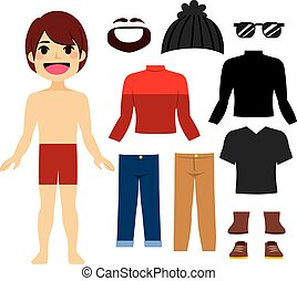 Hipster Boy Paper Doll