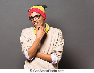 hipster, brésilien, studio, homme